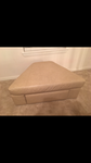 Cream Leather Ottoman with Drawer