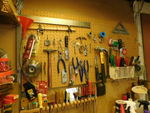 Peg board of assorted tools...