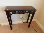 Cute entry table w/lace woodwork, a...