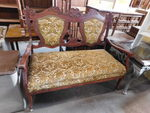 Vintage wood frame settee w/great a...