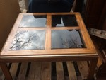 NICE COFFEE TABLE WITH TINTED GLASS INSERTS