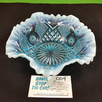 Blue Opalescent Ruffled Edge Glass Bowl