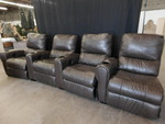 Set of 4 brown vinyl reclining thea...