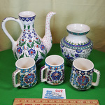 Turkish Hand Painted Mugs Carafe Vase