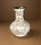 BEAUTIFUL PAINTED BRASS VASE