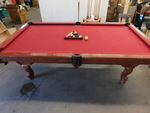 Regulation wood pool table w/red fe...