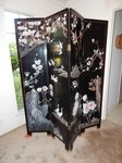 4-panel Oriental screen, heavy...