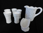 Vintage milk glass pitcher, napkin ...
