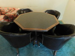 Octagonal game table w/4 brown viny...
