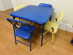 Child's blue table and 4 chairs...