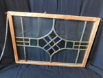Vintage wood-framed stained glass p...