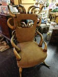 Awesome horn chair w/leather seat a...
