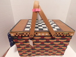 picnic basket with checkers