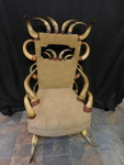 One of a kind horn chair w/leather ...