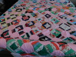 "Vintage hand-sewn quilt, approx 77""..."