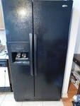 Amana black side-by-side fridge, wo...