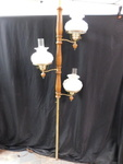 Vintage wood w/milk glass globes fl...