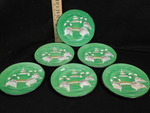 Set of 6 green hand-painted Asian p...