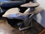 Awesome natural wood side table w/g...