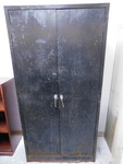 Black metal storage cabinet, approx...