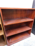 "Wood 4-tier shelf unit, approx 36""x..."