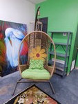 HANGING WICKER SWING CHAIR WITH STAND