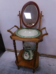 Vintage wood washstand w/pitcher an...