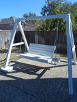 Great white wood outdoor swing, fra...