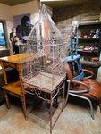 "Large birdcage on stand, approx 19""..."