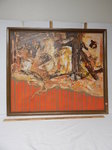 Large framed orange oil by KG King...
