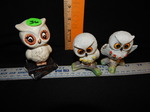 Set of 3 white owl figures...