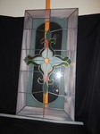 Large, heavy stained glass panel...