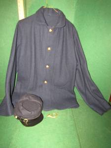 CIVIL WAR REENACTMENT UNIFORM JACKET AND CAP