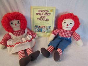RAGGEDY ANN & ANDY DOLL SET, BOOK