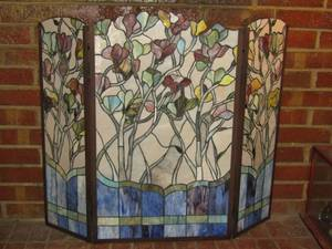 GORGEOUS STAINED GLASS FIREPLACE COVER