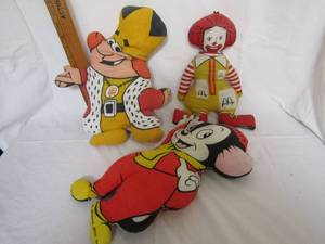 VINTAGE MCDONALDS, BURGER KING, AND SNIFFLES MOUSE PILLOW DOLLS