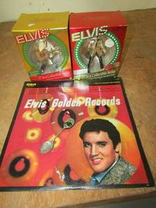 ELVIS PRESLEY RECORD, 2 LARGE ORNAMENTS IN BOXES, COLLECTOR SPOON