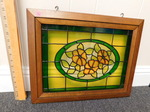 Wood framed stained glass panel...