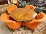 Octagonal shaped retro table w/4 cl...